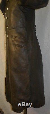 Original WW2 German Brown Leather Coat Officer Jacket Military Elite Overcoat