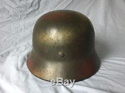 Original WW2 German Camo Helmet M40 ET66
