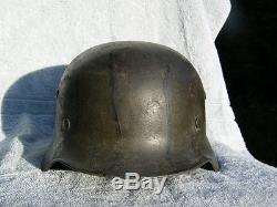 Original WW2 German Camo Helmet M40 Q64