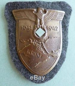 Original WW2 German Crimea Shield (Krimschild) with army cloth & back-plate