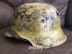 Original WW2 German Helmet Battle Damaged M42 SHELL Rest RESTORED To DAK IMO
