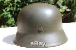 Original WW2 German Helmet M42 size 66, Norwegian Army decals Post War Norway