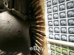 Original WW2 German Helmet leather pouch / 2 blocks of stamps read on /