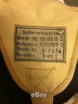 Original WW2 German Luftwaffe 10-30 B-2 Schwimmweste life preserver