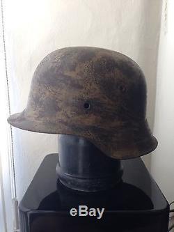 Original WW2 German M42 Helmet With Camo Camouflage Paint Semi Relic