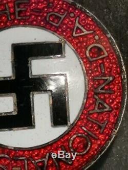 Original WW2 German NSDAP badge enamel version Rare Button Hole version