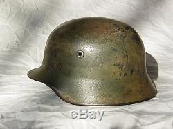 Original WW2 German Normandy Camo Helmet M40 Q62