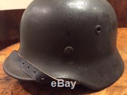 Original WWII German M-40 SS Helmet WithOriginal Liner