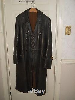 Original WWII German leather greatcoat, original detachable wool liner, size 44