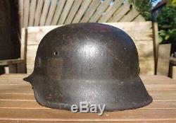 Original Ww2 German M42 Helmet Ef 66 Liner Marked Size 58