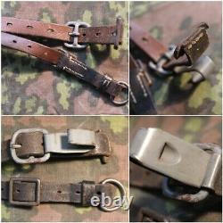 Original Ww2 German Y Straps Leather Belt With Rbnr Waffen Ss Wh Late War 1944