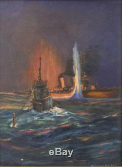 Original Ww2 Wwii Kriegsmarine German Navy U-boat Submarine Naval Art Painting