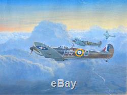 Original Ww2 Wwii Military Aviation Art Painting Spitfires Vs German Bombers