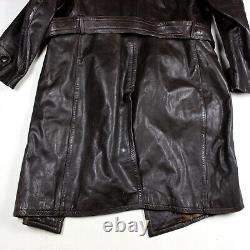 Original Wwii Era German Officer Brown Leather Overcoat Great Coat Mantel