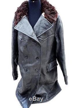 Original Wwii Kriegsmarine German Navy Uboat Leather Jacket Coat With Fur Collar