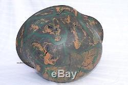 Rare German Wwii Original Camouflage Helmet Normandy Tropical Sudfront Ww2 Camo
