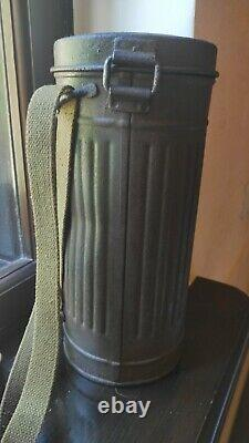 RARE ORIGIN. WWII German Wehrmacht Gas Mask Canister MARKED JOHN A. G. 1940 2