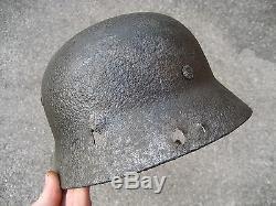 RARE WW2 ORIGINAL German M35 HELMET BATTLEFIELD RELIC ELITE VI. Korps LATVIA