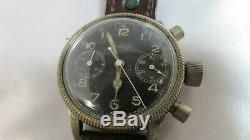 Rare 1940s WW2 Hanhart 17J German Luftwaffe Pilot Chronograph Watch Working