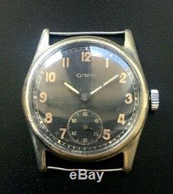 Rare Original Ww2 Military German Swiss Watch Grana Dh Kf321 Wehrmacht Serviced