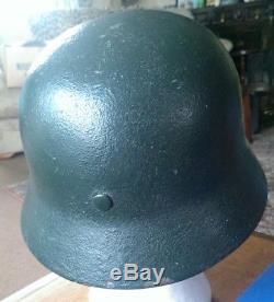 Restored Original WW2 M40 German Helmet, with Original Liner. ET66 Shell