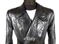 STUNNING German Horsehide Leather Coat Jacket M / L Vintage Heavy Motorcycle WW2