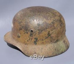 Superb Original Ww2 M35 German Camo Helmet (possibly Elite) Wwii Relic
