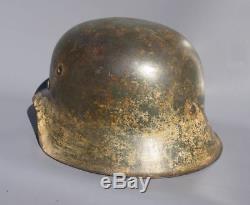 Superb Original Ww2 M35 German Winter Camo Helmet Wwii