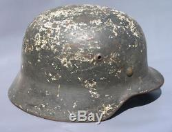 Superb Original Ww2 M35 German Winter Camo Helmet (possibly Elite) Wwii Relic