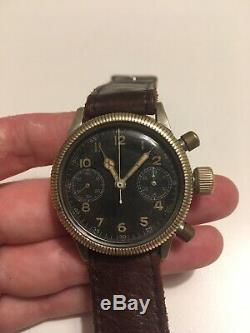 Tutima Glashutte Chronograph Luftwaffe Urofa 59 flieger pilot watch german ww2