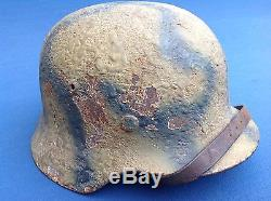 Very Rare Original Ww2 Normandy Camo Et64 German Bocage Region Combat Helmet