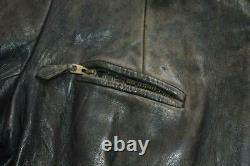 Vtg 30s 40s WW2 GERMAN Leather Cyclist Motorcycle Biker Jacket Grommet Zip S 38