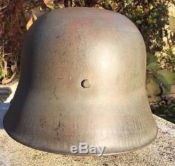 WW1 GERMAN STEEL HELMET, FIELD GREY ORIGINAL. M16 MODEL, MAKER Si 66