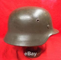 Ww2 German M40 Steel Helmet Original, France + Liner & Chinstrap. E64, Batch Nr 77
