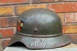 WW2 GERMAN Original Luftschutz GLADIATOR helmet used by Bulgarian Army, decal 3