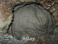 WW2 German EM/NCO Winter Fur Cap VET BRING-BACK 100% ORIGINAL NICE