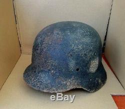WW2 German Helmet M40/64 SD WH #1222 Full Original Wehrmacht