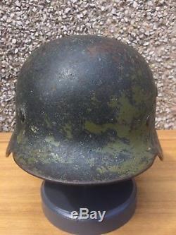 WW2 German Helmet Original With Liner In Green Camo