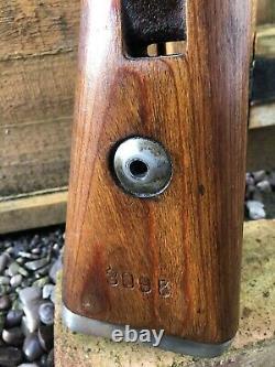 WW2 German Original Mauser K98 Rifle Stock Serial Num And Metal Sling Clip