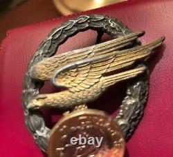 WW2 German Original Paratroopers Badge Fallschirmschützenabzeichen by Assman