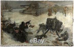WW2 German / Russian Oil Painting BATTLE SCENE T34 MG42 100% ORIGINAL