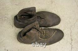 WW2 German Soldiers Original Marching Boots Iron Lowboots Leather Foot Jackboot