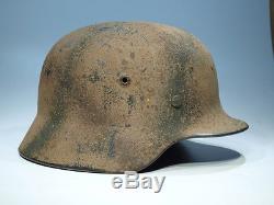 WW2 German camo helmet M40 Wehrmacht Camouflage 3 tone Normandy camo ORIGINAL