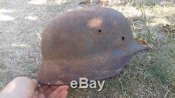 WW2 HELMET GERMAN 100% ORIGINAL AUTHENTIC 2WK Original Stahlhelm Wehrmacht alt