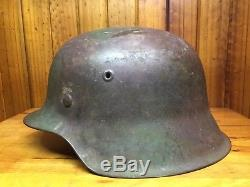 WW2 M42 German Spray Camo Helmet Untouched Original Excellent Condition