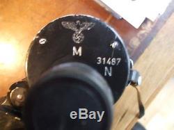 WW2 ORIGINAL GERMAN 1944 MILITARY 7x50 BINOCULARS BLC WITH LEATHER CASE