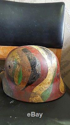 Ww2 Original German Normandy Camo M1940 Helmet