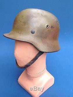 Ww2 Original Normandy Camouflage German Combat Helmet & Liner, Quist Maker