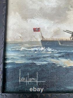 WW2 Original Wartime Painted German Battle Ship Tirpitz Painting On Canvas