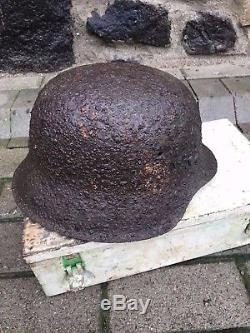 WW2 WWII Original German SS Helmet M42, Preserved, From Battle or Kurland